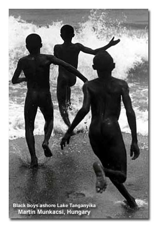 Black boys ashore Lake Tanganyika by Hungarian Photographer: Martin Munkacsi