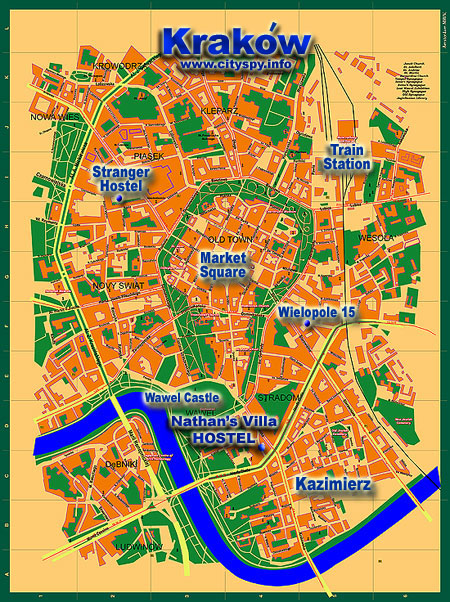 map of Krakow Poland